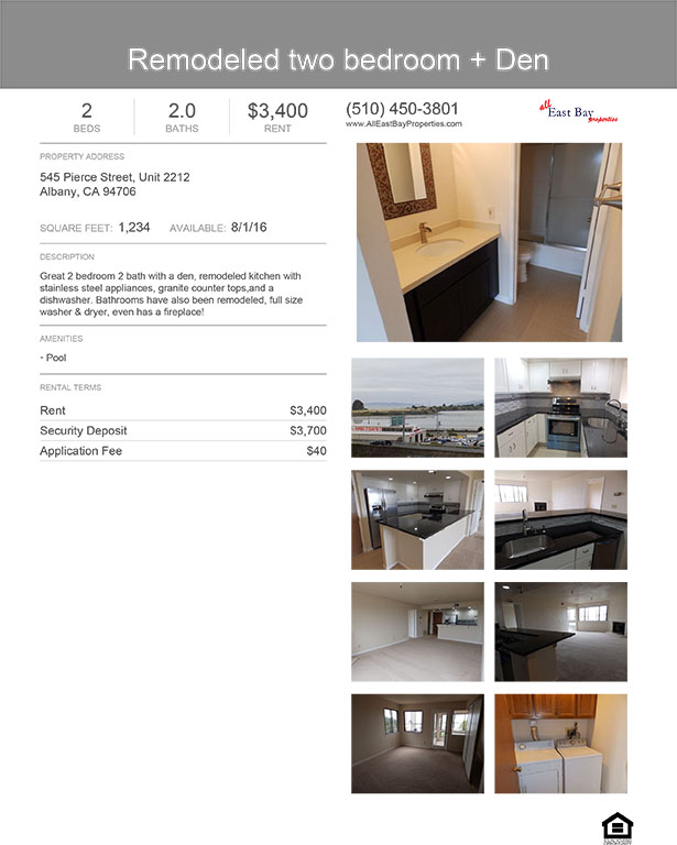 All East Bay Properties - Remodeled 2 bed + den $3400