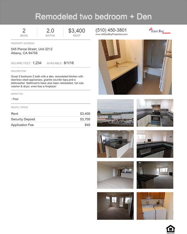 East Bay Rental Properties: Remodeled 2 Bed + Den $3400